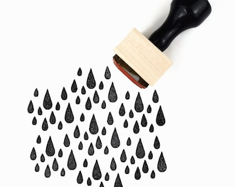 Rubber Stamp A Little Fall of Rain | Weather Rainy Day Tear Drops Stamp