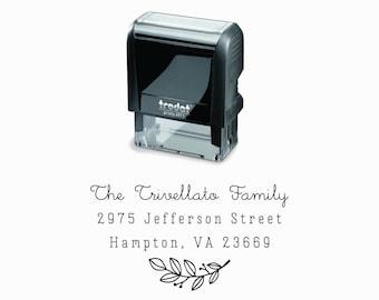 Branch Self-Inking Address Stamp |  Minimalist Simple Floral Below Return Address Gift | Self Inking & Eco Friendly Rubber Stamp Creatiate