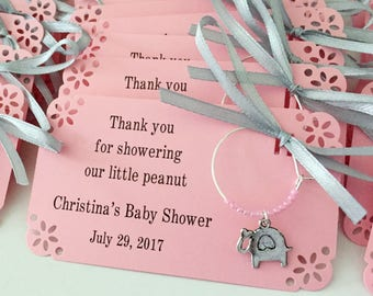 Elephant baby shower wine charm favors: 1 charm set. Elephant and Little Peanut Baby Shower Favors & Elephant Party Favors. 1 to 50 favors.