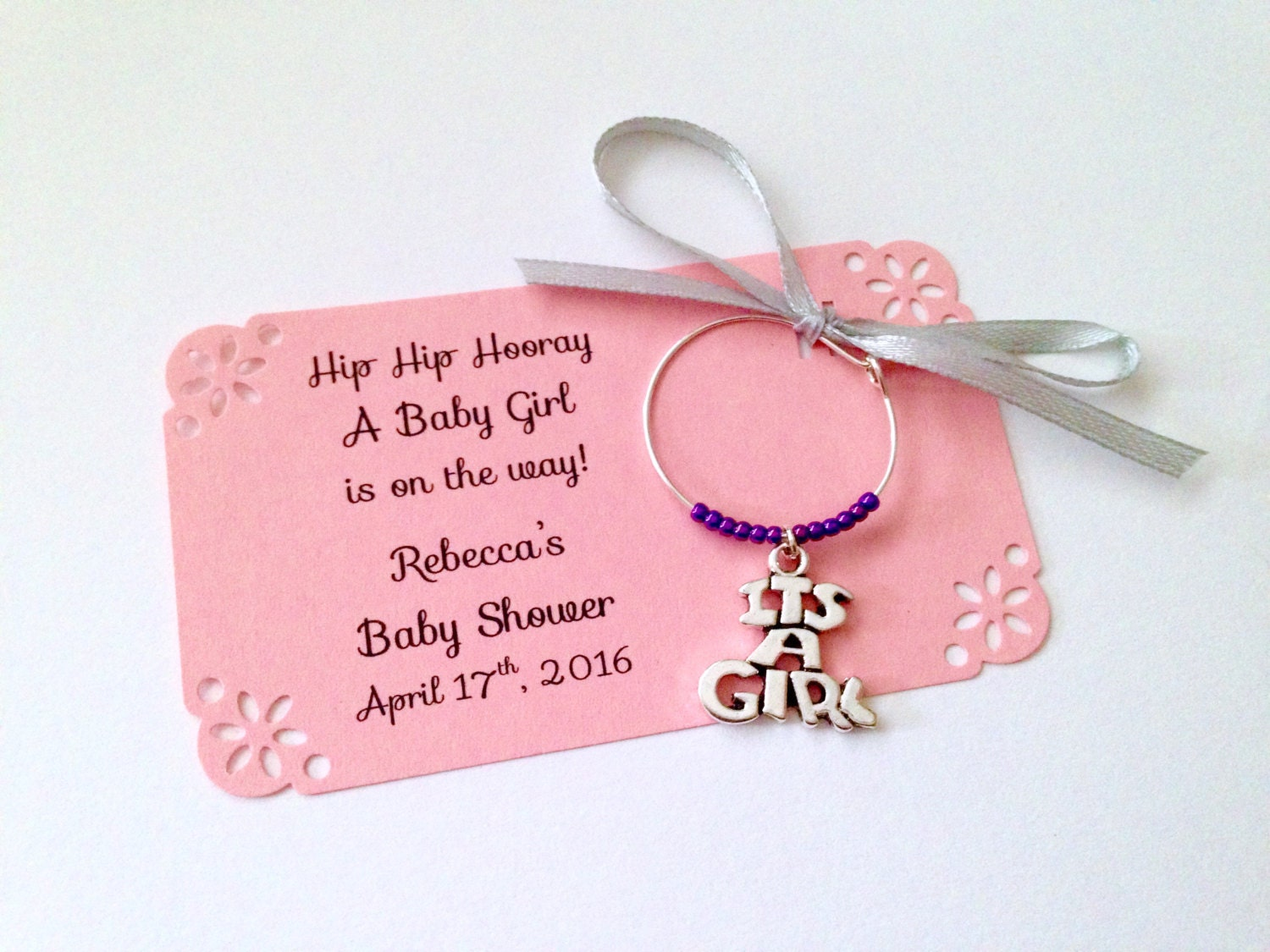 It\'s a Girl baby shower wine charm favors: 1 charm set. | Etsy