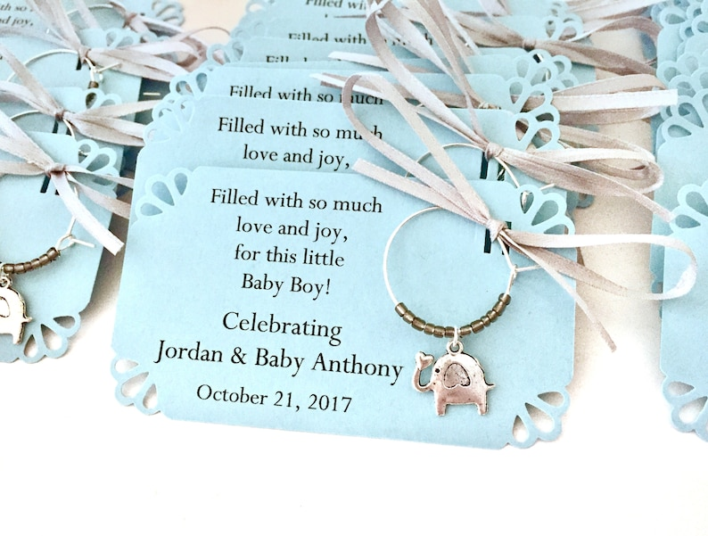 Elephant Baby Shower Wine Charm Favors Baby Boy Elephant And Etsy