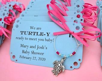 Turtle baby shower wine charm favors: 1 charm set. Turtle themed Baby Shower Favor & Turtle Party Favor. Turtle Wine Charm.  1 to 50 favors.