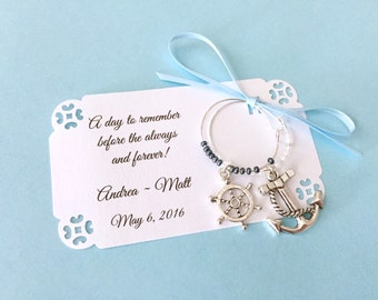 Nautical theme wine charm favors for Bridal Shower or wedding favors: 2 charm set. Perfect for Bridal Shower Favors. 1 to 50 favors listing.