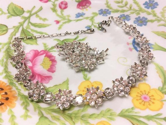 Vintage Lisner Sparkling Clear Rhinestone Floral N