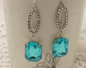 Large Blue Rhinestone Earrings