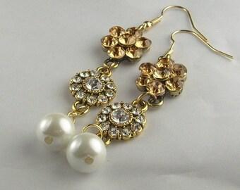 Honey Topaz Rhinestone Pearl Earrings