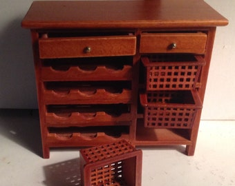 Miniature Dollhouse Hutch With Wine Rack