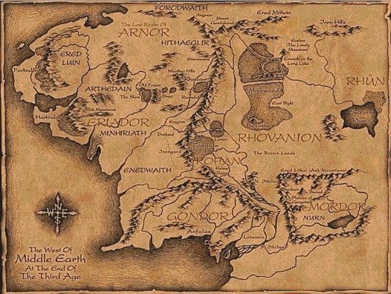 Middle Earth Map - Cross stitch pattern pdf format