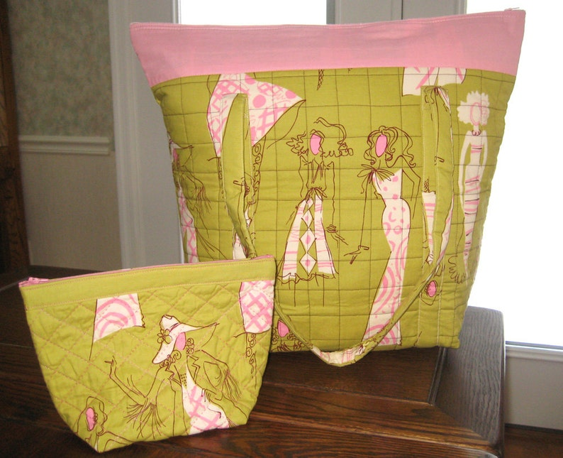 Fashionista Large Chartreuse /& Pink Travel Tote with zipper