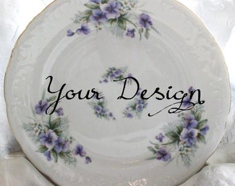 Customizable Floral Violet Plates, Your Image, Foodsafe & Durable, Personalized Dishes, Custom China, Monogram Plates, Whole Set Available