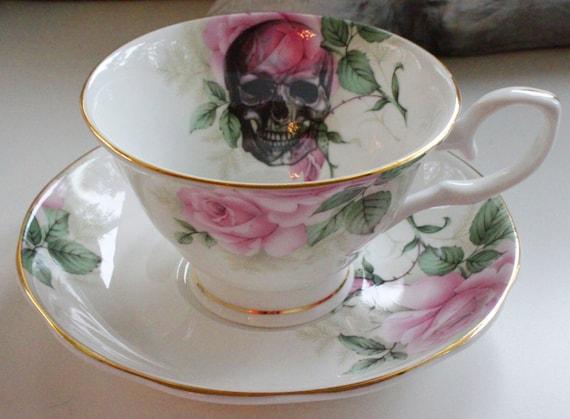 Floral Rose Skull Crown Teacup Customizable Skull Skeleton Etsy