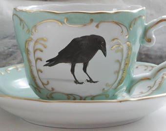 Pink and Gold Raven Teacup and Saucer Set, Bird Teacup, Raven Cup, Crow Teacup, Bird Teacup, Raven China, Crow China, Bird China