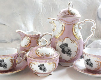 Green, Blue, or Pink & Gold Skull Tea Set, Goth Teacup Set, Skull China, Skull Teacup, Skeleton Tea Set, Halloween Tea Set, Skeleton Teacup