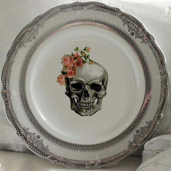 & Rose Skull Wedding Plates Silver or Gold Skull Dishes