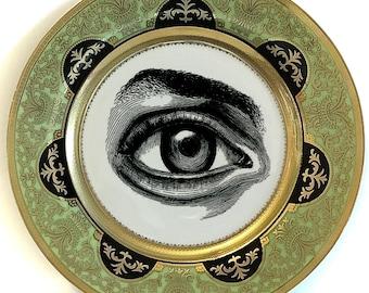 FREE SHIPPING - Green, Black and Gold Porcelain Eye Plate or Teacup/Saucer Set. Foodsafe, Dishwasher Safe.