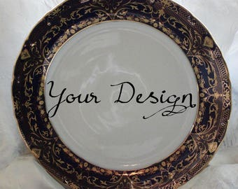 Cobalt Dinner Plate 10.5  Vintage Skull Plate Customizable Plate Custom & Customizable Plates Silver/Platinum Dinnerware Customizable