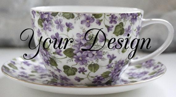 16 Ounce Jumbo Custom Violet Chintz Teacup And Saucer Set Etsy
