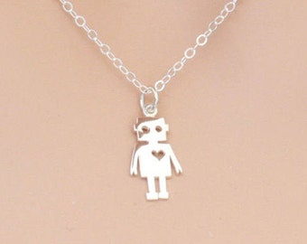 Robot Necklace, Sterling Silver, Silver Robot, Geek Jewelry, Robot Love, Bot Jewelry, Mechanical Pal, Robots, BeadXS, For Her, Geeky