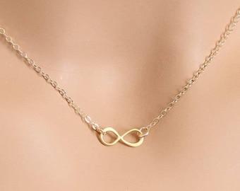 Infinity Necklace, Tiny Infinity, Wedding Jewelry, Infinity Jewelry, Dainty Necklace, Infinity Pendant, Gold Infinity, BeadXS, For Her