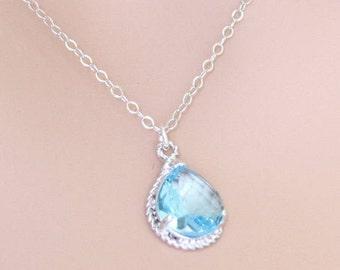 Aquamarine Necklace, Tear Drop, March Birthstone, Wedding Jewelry, For Her, Aquamarine Jewelry, Birthstone Necklace