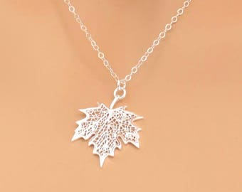 Maple Leaf Necklace, Maple Leaf Pendant, Canada Maple Leaf, Sterling Silver, Wedding Jewelry, Grad Gift, Wedding Necklace, Maple Leaf