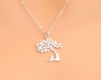 Bunny Tree Necklace, Sterling Silver, For Her, Tree Jewelry, Bunny Jewelry, Easter Gift, Easter Necklace, Silver Tree Pendant, Bunny Rabbit