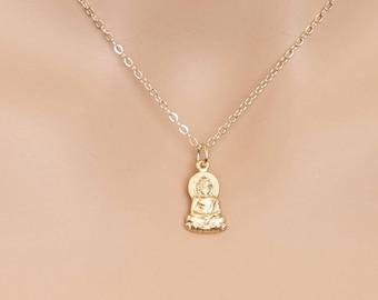 Buddha Necklace, Gold Buddha, Boho Jewelry, Buddha Pendant, Buddhism, Spiritual Necklace, BeadXS, Boho Necklace, Yoga Necklace, Yoga Jewelry