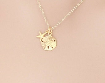 Gold Starfish Necklace, Sand Dollar Necklace, Beach Jewelry, Nautical Jewelry, Beach Necklace, Nautical Necklace, Starfish Jewelry, Starfish