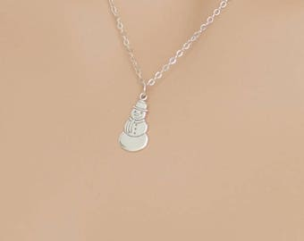 Snowman Necklace, Sterling Silver, Winter Pendant, Snow Necklace, Holiday Necklace, Snowman Jewelry, Snowman Pendant, Holiday Jewelry
