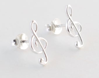 Music Earring Studs, Treble Clef Studs, Sterling Silver, Music Jewelry, For Her, Music Earrings, Music Note Earrings, Music Note Studs