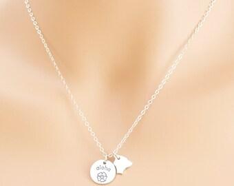 Aloha Necklace, Aloha Pendant, Sterling Silver, Hawaiian Jewelry, Hawaiian Jewelry, Gift Idea, BeadXS, Hawaii Jewelry, Aloha, Hawaii