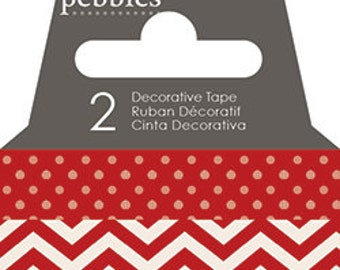 Red Rouge Dot and Chevron Washi Pebbles Basics 2 Roll Pack