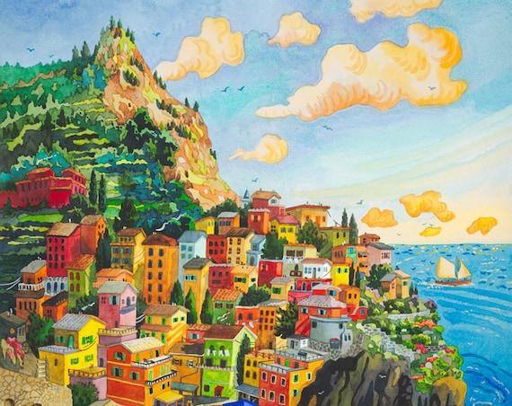 Cinque Terre, Italy, Manerola, Seascape, Southern Italy, Manerola Italy, Italian Fishing Village, Italian Coastline, Painting of Italy,