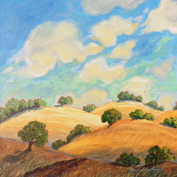 California Hills, Central California, Painting of CA Hills, gloden hills of California, rolling hills in California, painting of CA hills