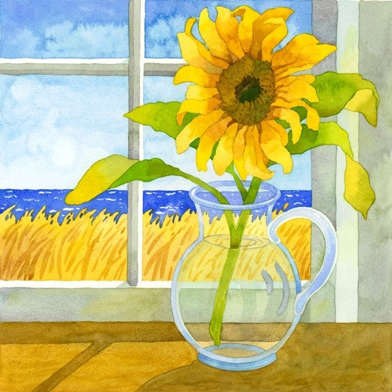 Sunflower art, Beach Cottage artwork, colorful wall decor, yellow and blue painting, Robin Altman artist