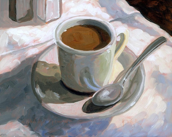 Cup of Coffee, Coffee Cup, Painting of Coffee Cup, Coffee Cup Print, Oil Painting, coffee cup on table, Starbucks, Hot Coffee,