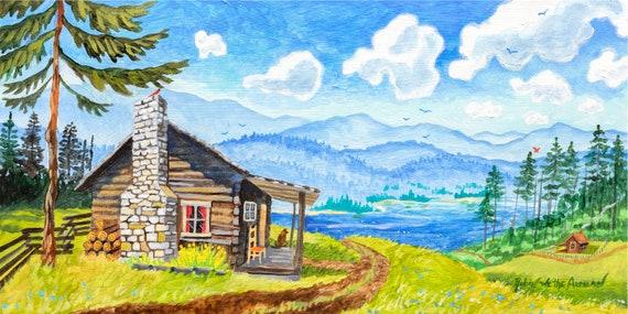 Carolina Blue Sky, Mountain Cabin Art, Rustic Cabin Art, Cabin Painting, Mountain Cabin, Rustic Mountain Cabin, Robin Altman Art, Cabins