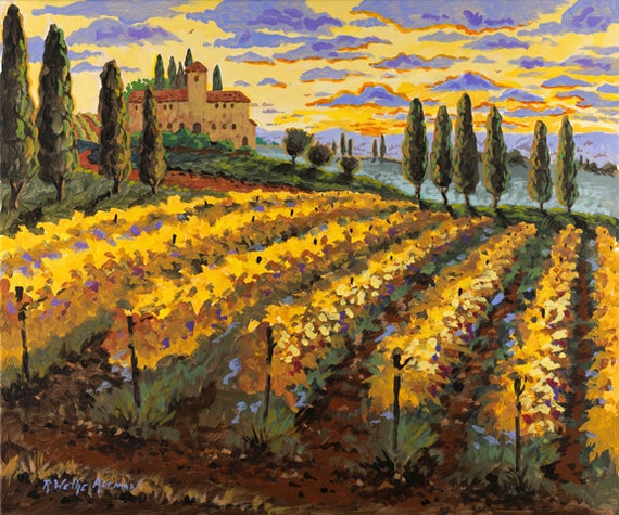 Italian Vineyard Painting, Print of Tuscany Italy,  Cypress Trees Vineyard, Italian Villa