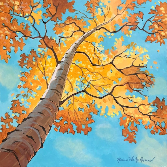 Birch tree in Fall, looking up at a Birch tree, Fall trees, yellow leaves blue sky, Birch tree, art by Robin Altman, nature painting, print