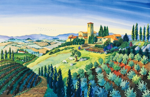 Tuscan Hilltop Town, Painting of Artimino, Italian Countryside, Watercolor of Italy, Landscape Painting, Italy