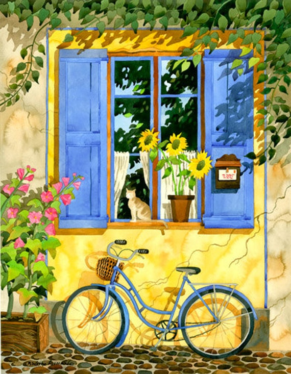 Provence France, French, Bike, Cat, French Cottage, Window, painting, Bicycle with Basket, print, Bicycle, Provence, Cottage