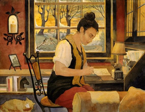 woman writer, writer at desk, writing, journal writing, painting of a woman writing, write your story, writer by the window, Robin Altman,
