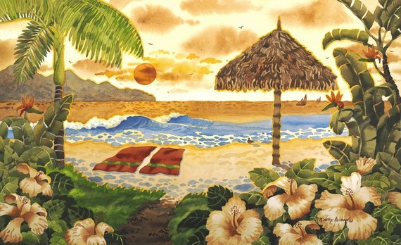Hawaiian art, Hawaiian Islands, Palapa on Beach, palm trees, sunset painting, towels on the beach, tropical painting, tropical artwork,
