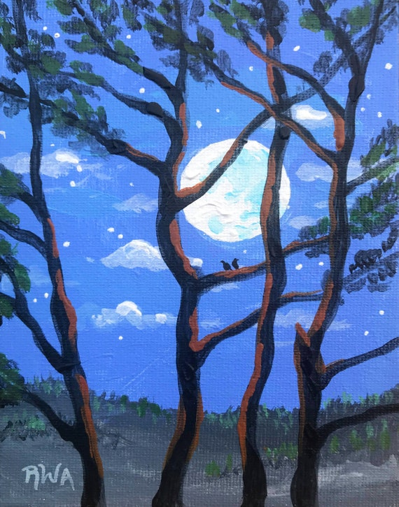 Moon through the trees, Moon and trees, painting of Moon and trees, romantic moon painting, artwork of the moon, sillouette of trees