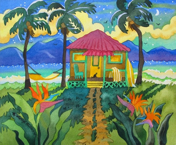 Tropical Hut art, Hawaiian art, colorful tropical art, palm tree painting, painting of Hawaii, Tropical Ocean Scene, hammock painting