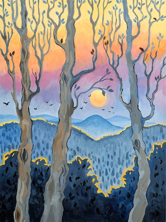 Blue Ridge, Appalachian Mountains, Sunset over the Mountains, winter trees, painting of the Blue Ridge Mountains, oil painting, artwork