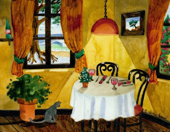 Ouiet Corner Table, Casanova Restaurant, Carmel California, Carmel by the Sea, Table for Two, Dining Table for Two, Romantic Art, romance