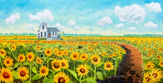 Field of Sunflowers, Sunflowers in a Field, House in a sunflower field, big sunflower field, sunflowers and blackbirds, Robin Altman