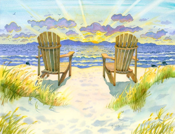 Adirondack chairs on the beach at sunset with sea grass with ocean