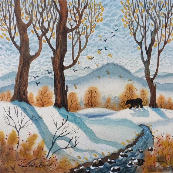 Bear in the mountains, Black Bear, Bear in the woods, Bear in Winter, Cabin art, Cabin art with Bears, Winter landscape, Robin Altman